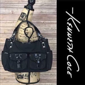 Kenneth Cole Black Leather Trim Satchel Handbag